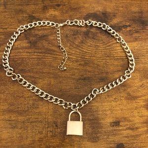 E girl lock chain necklace